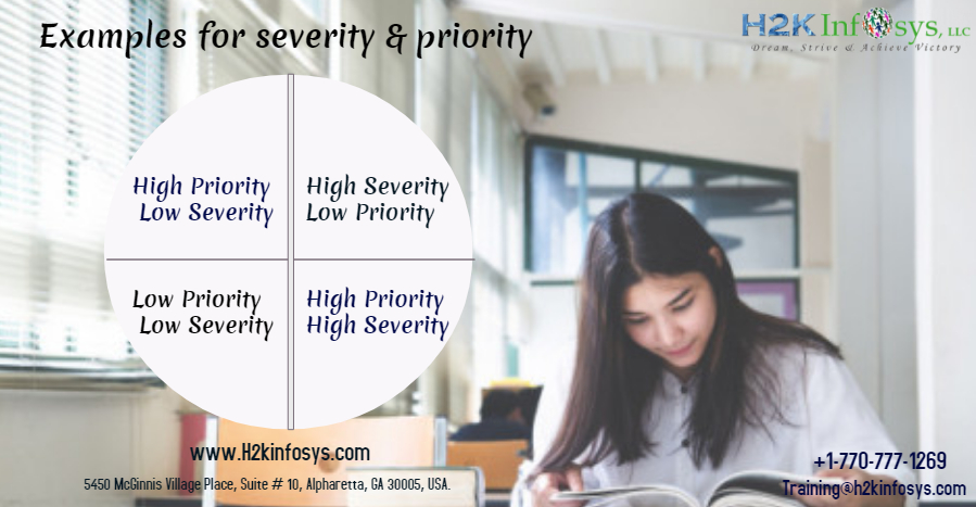 Examples for high severity,priority and low severity,priority defects in your current project?