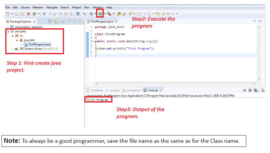 Write your First Basic Java Program