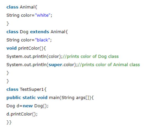 Super Keyword class in java