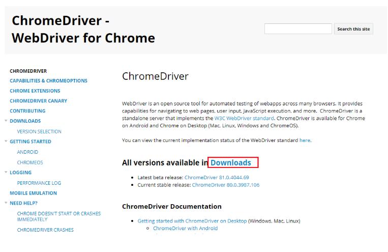 Running Selenium Test on Chrome Browser